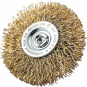 "2-1/2"" Crimped Wire Wheel Brush, Shank Mounting, 0.014"" Wire Dia., 1/2"" Bristle Trim Length, 1 EA"