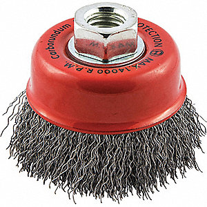"3"" Crimped Wire Cup Brush, Arbor Hole Mounting, 0.014"" Wire Dia. 3/4"" Bristle Trim Length"