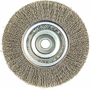 "6"" Crimped Wire Wheel Brush, Arbor Hole Mounting, 0.012"" Wire Dia., 1-1/4"" Bristle Trim Length, 1 EA"