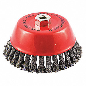 Wire Cup Brush   Grainger Approved 6 Knotted Wire Cup Brush Arbor Hole Mounting