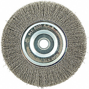 "10"" Crimped Wire Wheel Brush, Arbor Hole Mounting, 0.012"" Wire Dia., 2"" Bristle Trim Length, 1 EA"