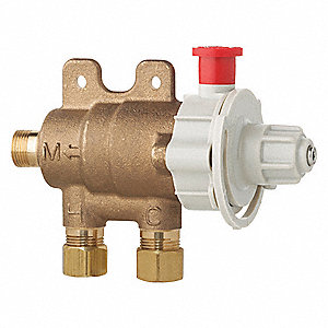 "3/8"" Compression Inlet Type Mixing Valve, Brass, 4.6 gpm"