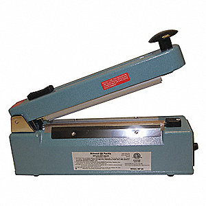 "Hand Operated Heat Sealer; Seal Length: 8"", Seal Width: 1/16"", Overall Height: 8-1/2"""