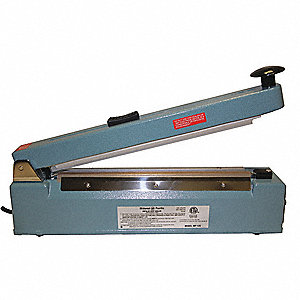 "Hand Operated Heat Sealer; Seal Length: 12"", Seal Width: 1-1/6"", Overall Height: 11"""