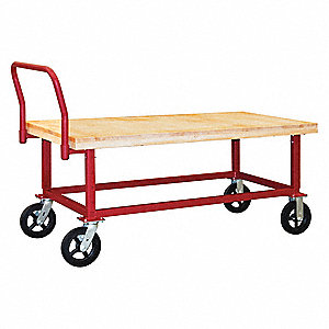 "Work-Height Wooden-Deck Platform Truck,  60""x30""x26-3/4"" to 35-3/4"",  1800 lb. Load Capacity"