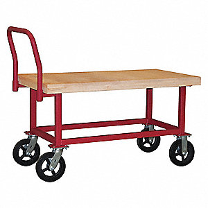 Work Height Platform Truck, Hardwood Deck Material, Steel Frame Material, 1800 lb. Load Capacity