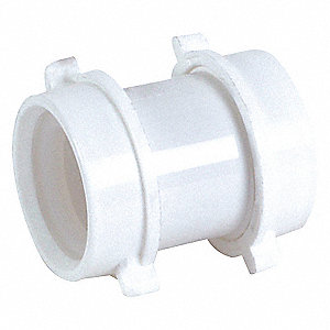 "PVC White Coupling, 1-1/2"" Pipe Dia., Slip Connection - Drains"
