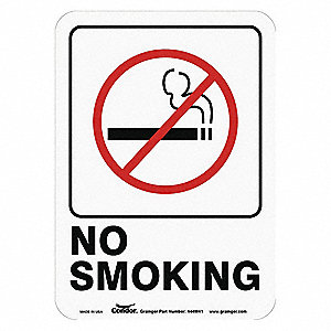 "No Smoking, No Header, Plastic, 7"" x 5"", With Mounting Holes, Not Retroreflective"