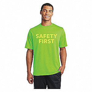 "T-Shirt,  100% Polyester,  Green,  Pullover,  Fits Chest Size 41"" to 43"""