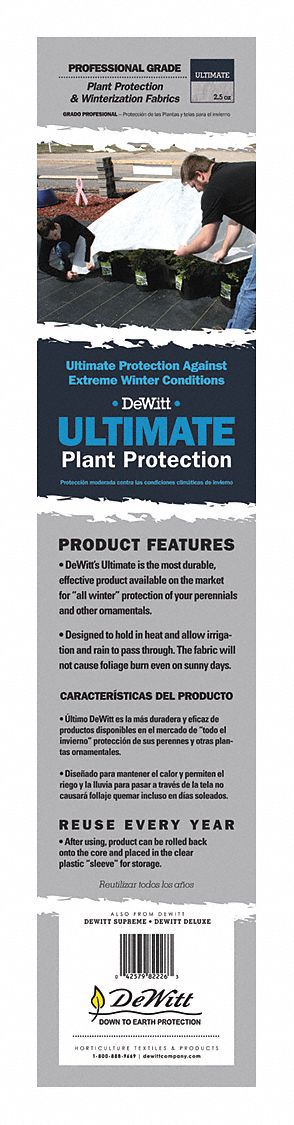 Plant Protection Fabric, Polypropylene, White, 3 x 250 ft