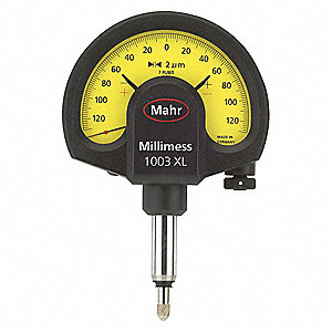"Continuous Reading Dial Indicator, 0.850"" Dial Size, 0 to 0.130"" Range"