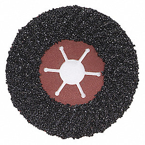 "4-1/2"" Coated Fiber Disc, 7/8"" Mounting Hole Size, Extra Coarse, 16 Grit Silicon Carbide, 1 EA"