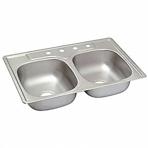 "33"" x 22"" x 6"" Drop-In Sink with 14"" x 15-1/2"" Bowl Size"