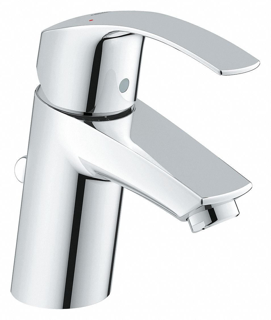 Chrome,  Straight,  Bathroom Sink Faucet,  Manual Faucet Activation,  1.2 gpm