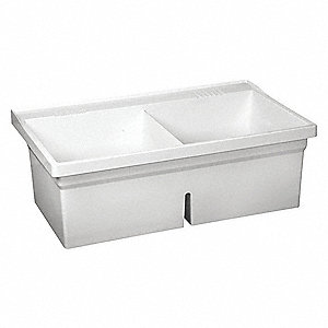 "Wall-Mount Laundry Tub, 2 Bowl,  White, 24""L x 40""W x 13-7/8""H"