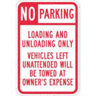 No Parking Loading And Unloading Only Vehicles Left Unattended Will Be Towed At Owner's Expense Signs