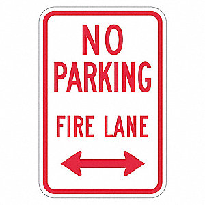 "Fire Lane, No Header, Recycled Aluminum, 18"" x 12"", With Mounting Holes, Top/Bottom Centered"