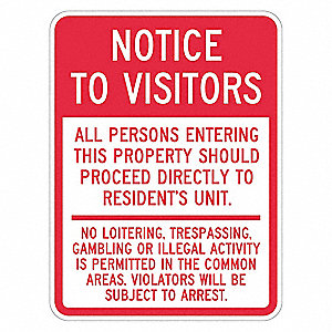 "Trespassing and Property, Notice to Visitors, Recycled Aluminum, 24"" x 18"""