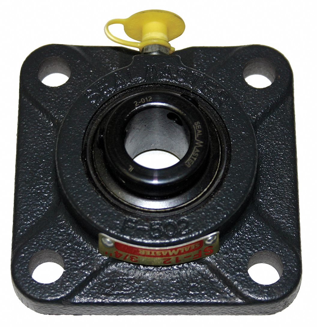 Sealmaster MSF-24 Medium Duty Flange Unit Cast Iron Housing 4-1//8 Bolt Hole Spacing Width Regreasable 5-3//8 Overall Length Setscrew Locking Collar 9//16 Flange Height Felt Seals 1-1//2 Bore /±2 Degrees Misalignment Angle 4 Bolt
