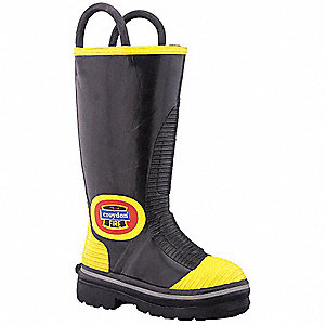 Men's Insulated Firefighter Boots, Size 10-1/2, Footwear Width: W, Footwear Closure Type: Pull On