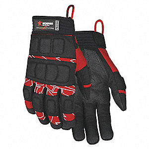 Impact Gloves, Synthetic Leather Palm Material, Red/White/Black, XL, PR 1