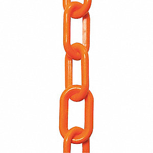 Plastic Chain,2 In x 50 ft,Safety Orange