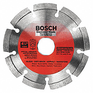 "4-1/2"" Wet/Dry Diamond Saw Blade, Segmented Rim Type, Application: Masonry"