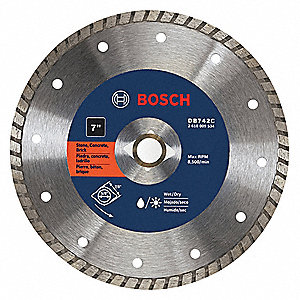 "7"" Wet/Dry Diamond Saw Blade, Turbo Rim Type, Application: General Purpose"