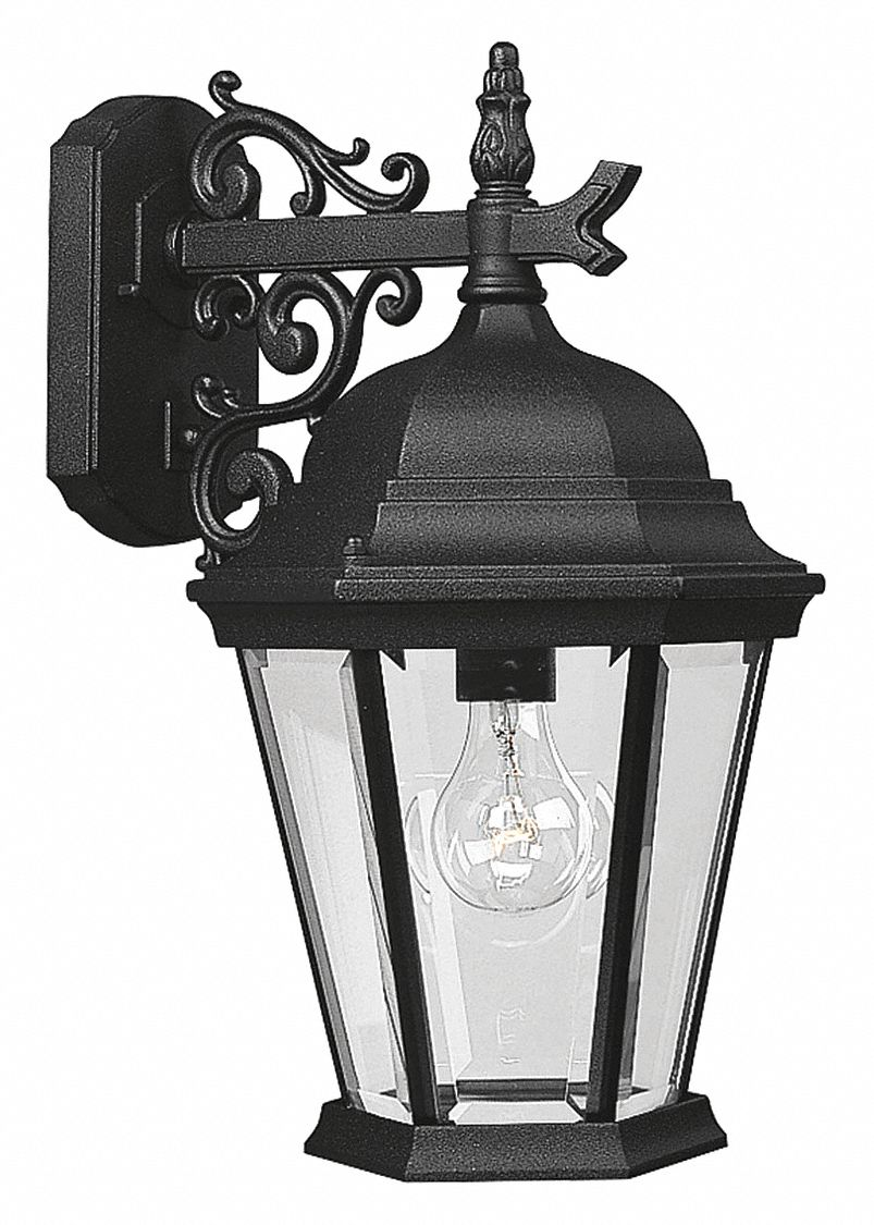 Wall Lantern,  Incandescent,  Wall,  Aluminum,  Black