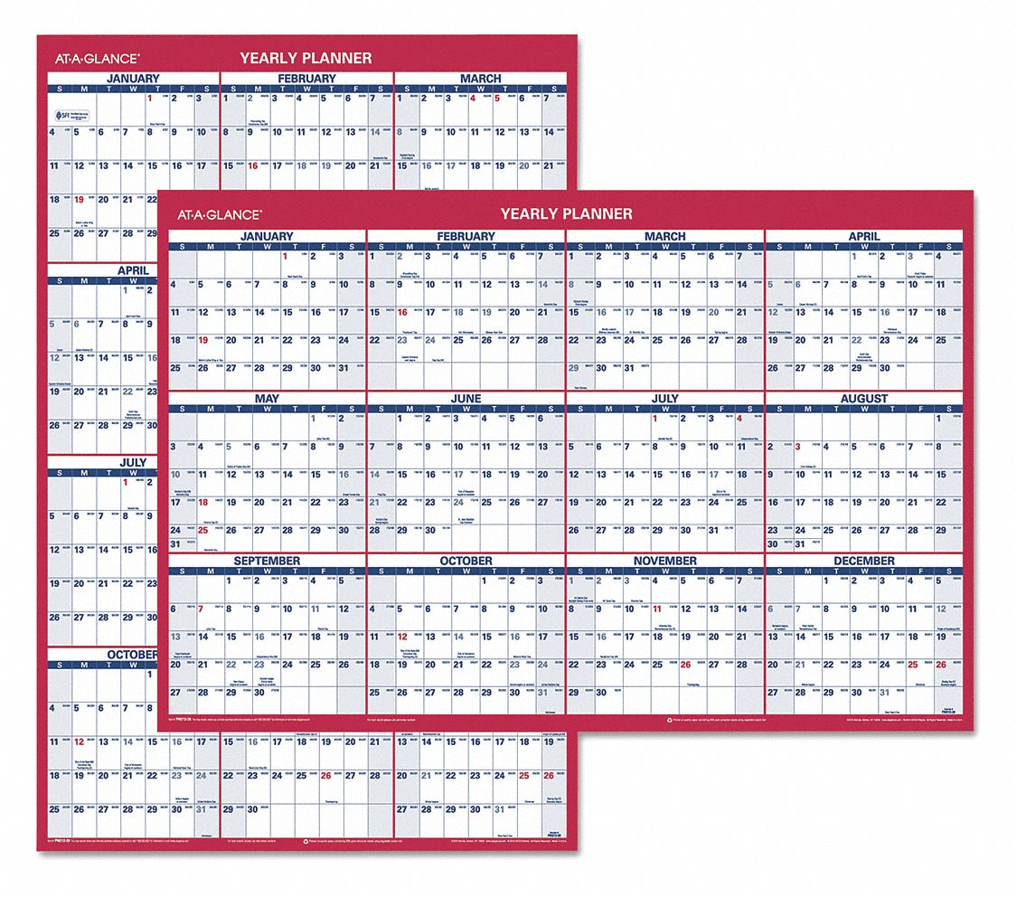 "Reversible Yearly Wall Calendar,24""x36"""