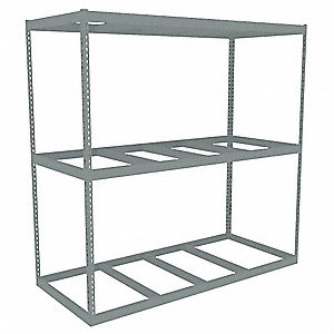 "96"" x 30"" x 84"" Steel Boltless Shelving Starter Unit, Gray&#x3b; Number of Shelves: 3"