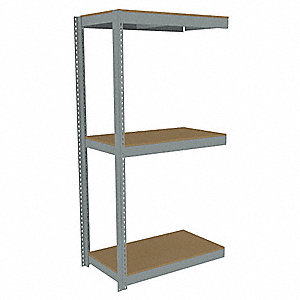 "Add-On Boltless Shelving with Particle Board Decking, 3 Shelves, 49""W x 18-5/8""D x 84""H"