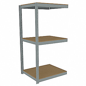 "Add-On Boltless Shelving with Particle Board Decking, 3 Shelves, 49""W x 36-5/8""D x 84""H"