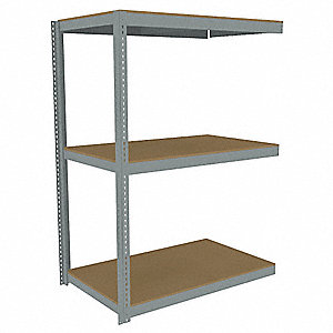 "Add-On Boltless Shelving with Particle Board Decking, 3 Shelves, 73""W x 30-5/8""D x 84""H"