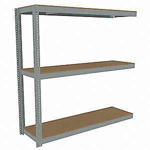"Add-On Boltless Shelving with Particle Board Decking, 3 Shelves, 85""W x 18-5/8""D x 84""H"