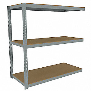 "Add-On Boltless Shelving with Particle Board Decking, 3 Shelves, 85""W x 36-5/8""D x 84""H"