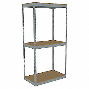 "42"" x 24"" x 84"" Steel Boltless Shelving Starter Unit, Gray&#x3b; Number of Shelves: 3"