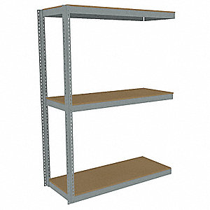 "Add-On Boltless Shelving with Particle Board Decking, 3 Shelves, 73""W x 18-5/8""D x 84""H"
