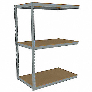 "Add-On Boltless Shelving with Particle Board Decking, 3 Shelves, 61""W x 30-5/8""D x 84""H"