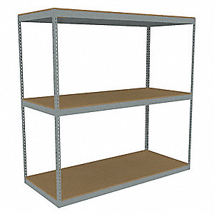 "Starter Boltless Shelving with Particle Board Decking, 3 Shelves, 84-5/8""W x 36-5/8""D x 84""H"
