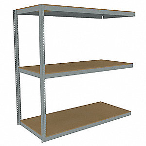 "Add-On Boltless Shelving with Particle Board Decking, 3 Shelves, 97""W x 30-5/8""D x 84""H"