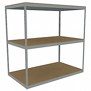 "Starter Boltless Shelving with Particle Board Decking, 3 Shelves, 96-5/8""W x 48-5/8""D x 84""H"