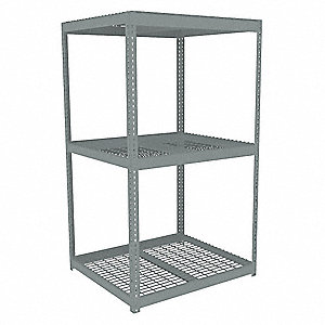 "Starter Boltless Shelving with Steel Wire Decking, 3 Shelves, 42-5/8""W x 42-5/8""D x 84""H"