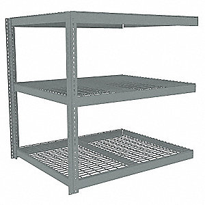 "Add-On Boltless Shelving with Steel Wire Decking, 3 Shelves, 61""W x 42-5/8""D x 84""H"