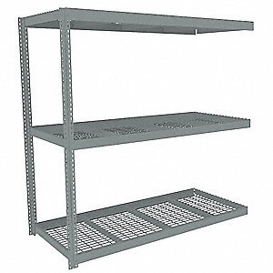 "84"" x 36"" x 84"" Steel Boltless Shelving Add-On Unit, Gray&#x3b; Number of Shelves: 3"