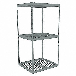 "Starter Boltless Shelving with Steel Wire Decking, 3 Shelves, 42-5/8""W x 30-5/8""D x 84""H"