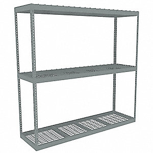 "84"" x 24"" x 84"" Steel Boltless Shelving Starter Unit, Gray&#x3b; Number of Shelves: 3"