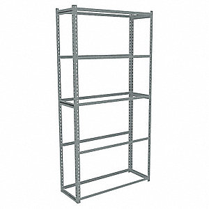 "48"" x 15"" x 84"" Steel Boltless Shelving Starter Unit, Gray&#x3b; Number of Shelves: 5"