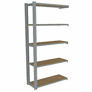 "42""W x 12""D x 84""H Steel Boltless Shelving Add-On Unit, Gray&#x3b; Number of Shelves: 5"