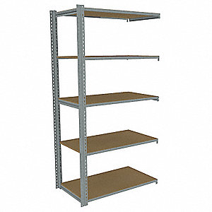 "Add-On Boltless Shelving with Particle Board Decking, 5 Shelves, 43""W x 30-5/8""D x 84""H"